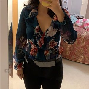forever21 floral ruffle mesh wrap blouse